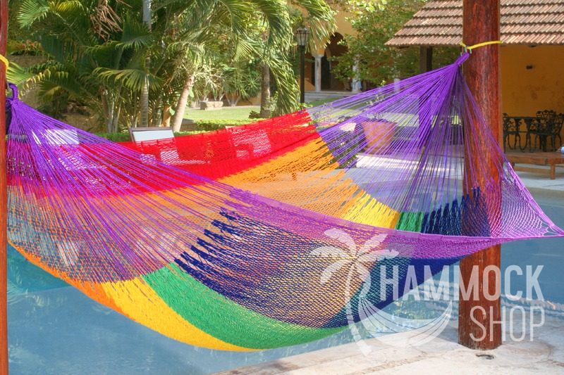 hammock with rainbow finish number double colour macrame