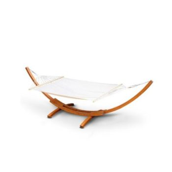 Double Hammock with Wooden Hammock Stand
