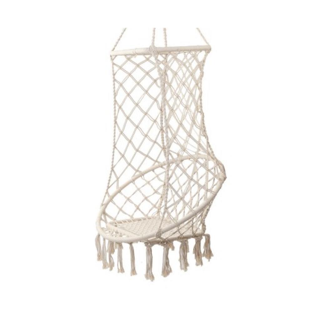 Tasseled Hanging Hammock Chair Swing in Cream