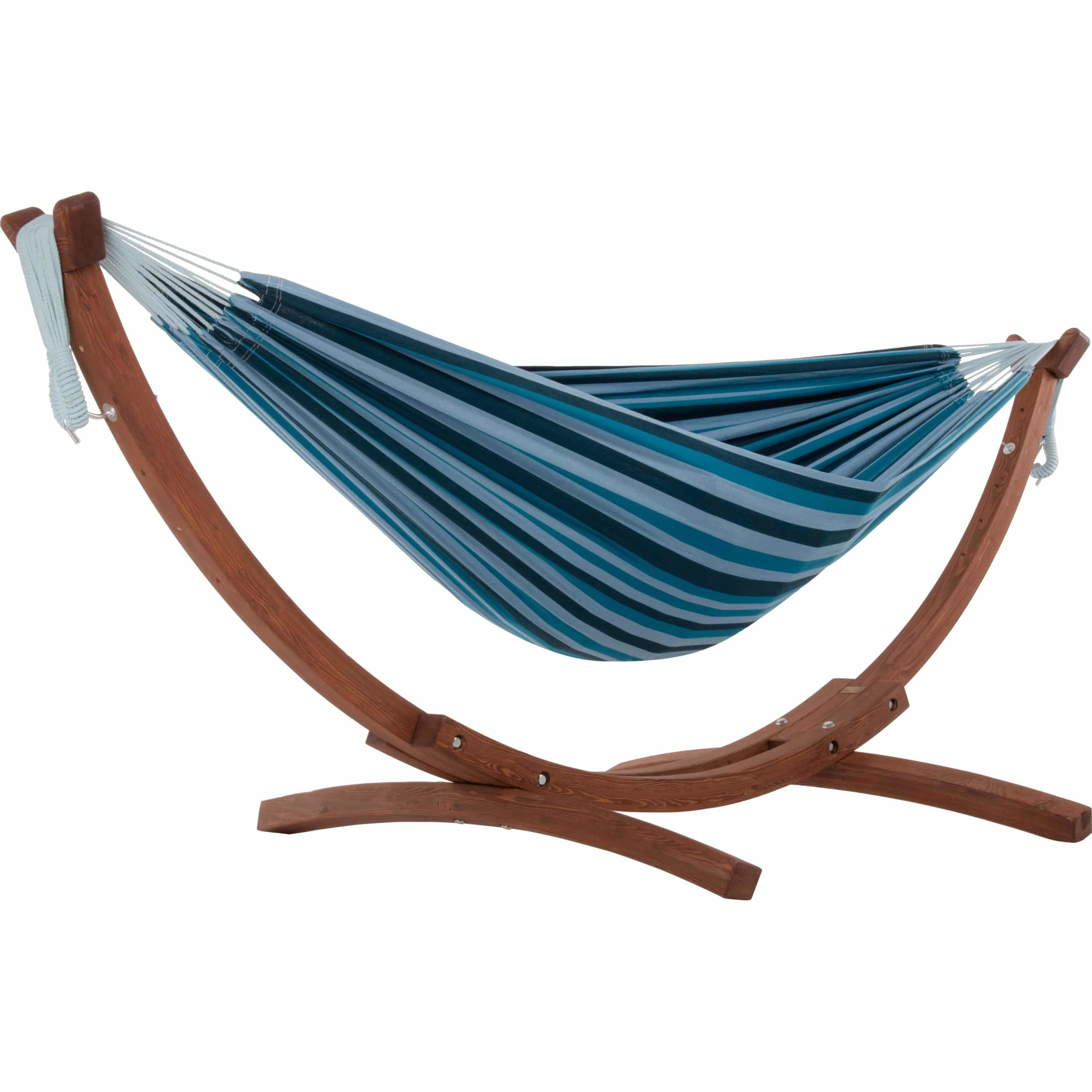 Double Cotton Hammock with Solid Pine Arc Hammock Stand – Blue Lagoon