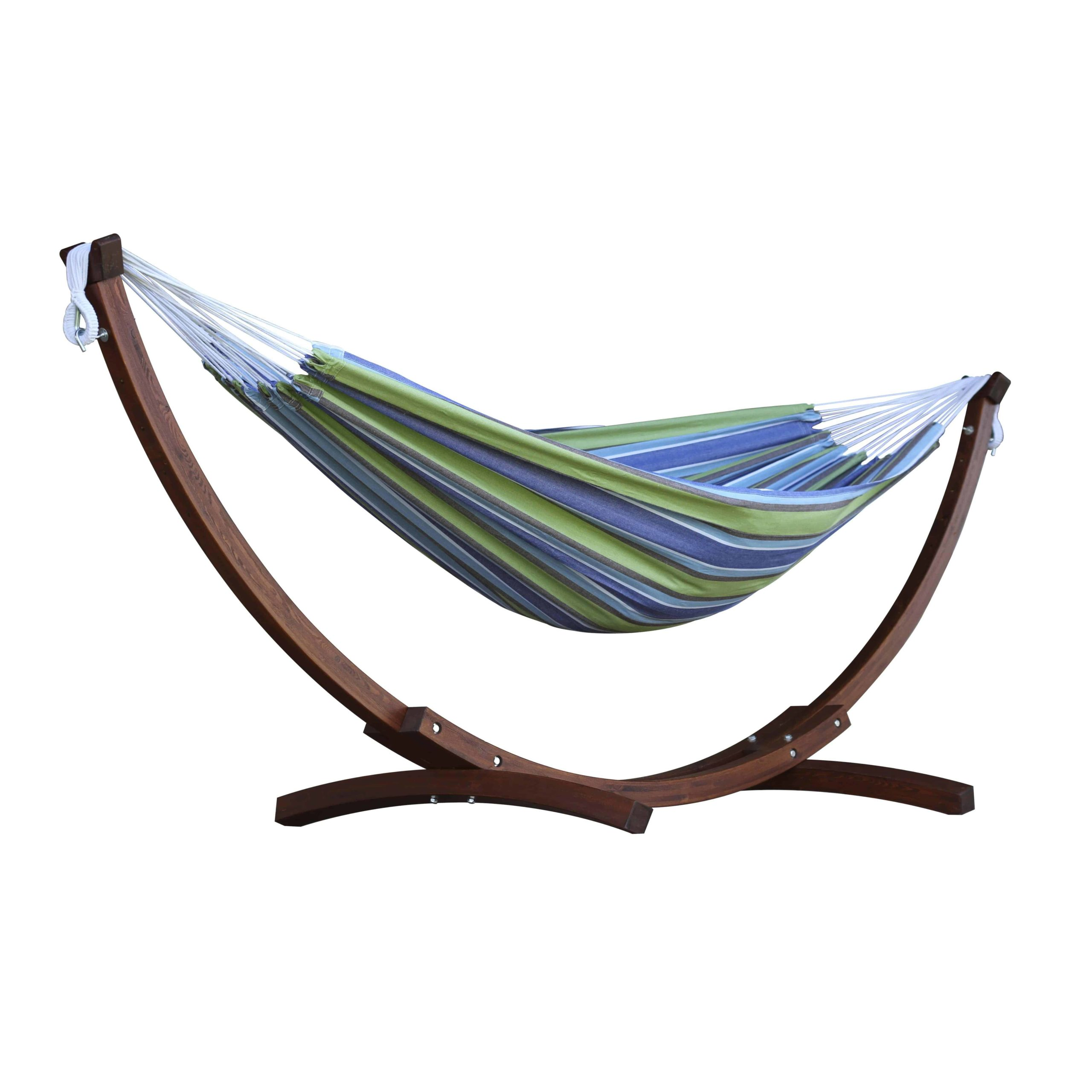 Double-Cotton-Hammock-with-Solid-Pine-Arc-Hammock-Stand-Oasis featured image