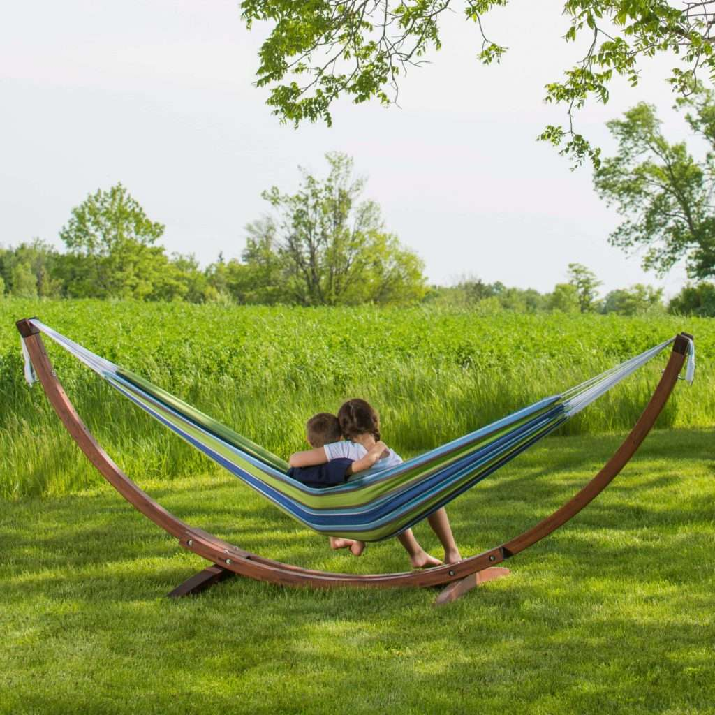 Double Cotton Hammock with Solid Pine Arc Hammock Stand – Oasis
