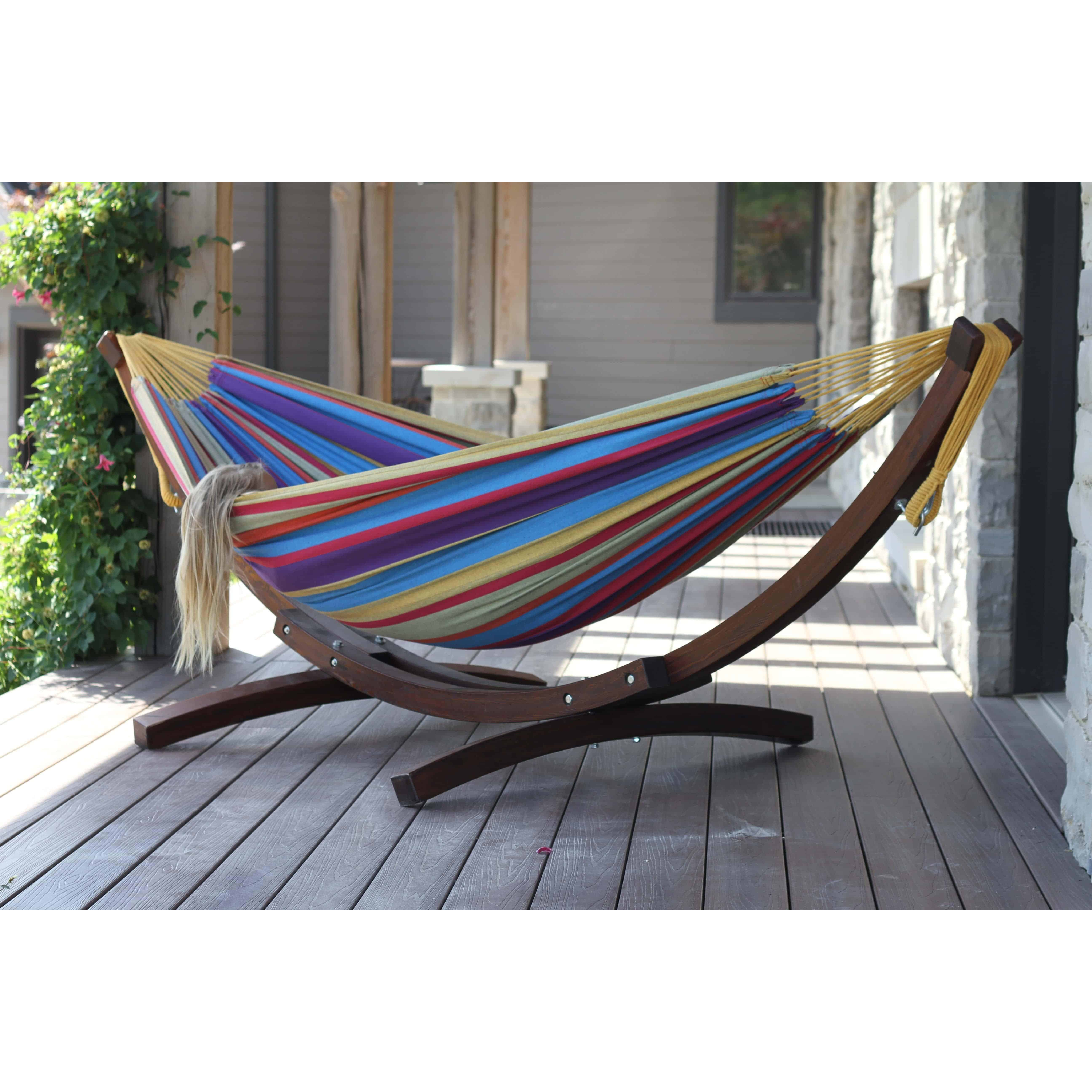 Double Cotton Hammock with Solid Pine Arc Hammock Stand – Tropical
