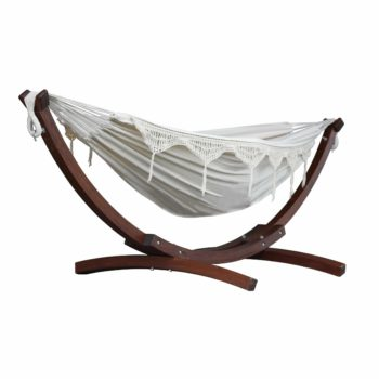 Double Cotton Hammock with Solid Pine Arc Stand – Natural