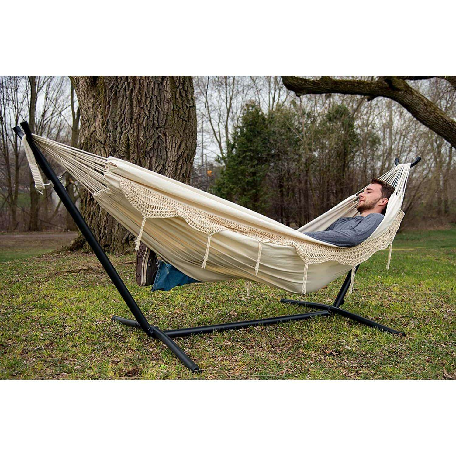 Double Deluxe Natural with Fringe Hammock with Steel Hammock Stand