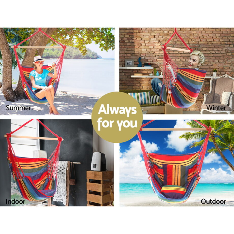 Hammock Arm Chair with Pillow in Rainbow