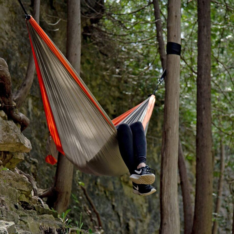 Double Parachute Hammock in Grey and Orange