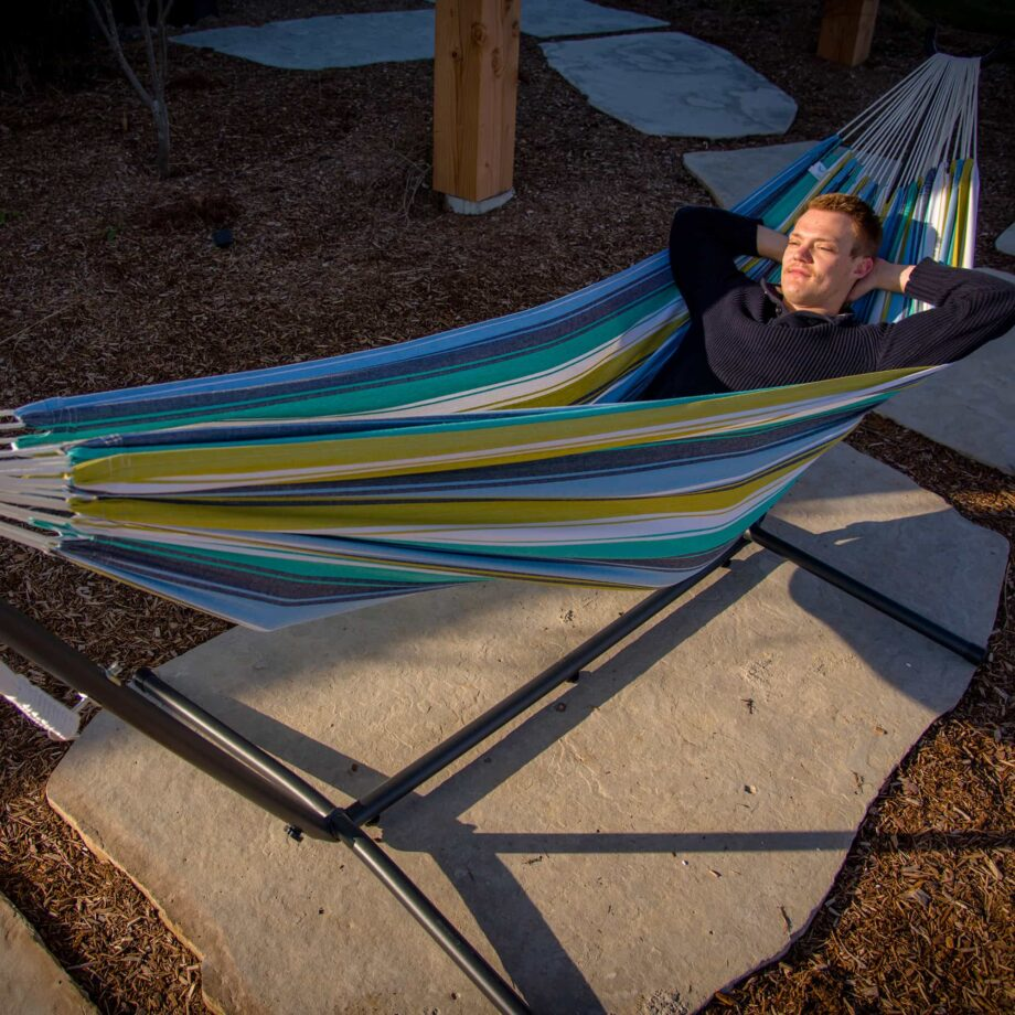 Universal Hammock Stand & Double Cotton Cayo Reef Hammock-Relaxing in a hammock