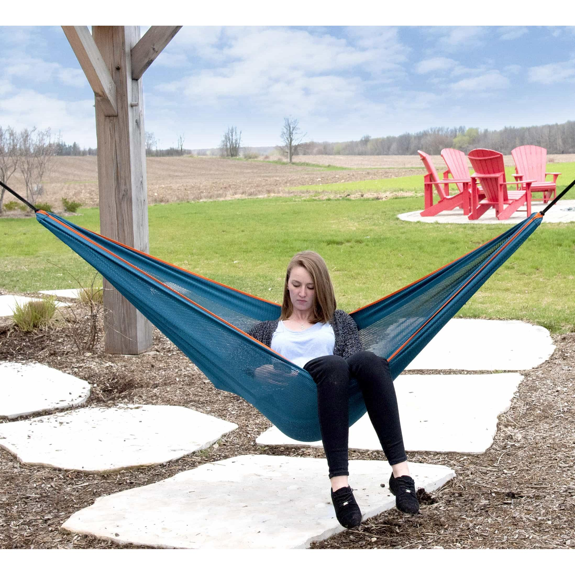 Mesh Double Hammock in Blue and Orange – MESH2-40 Lifestyle