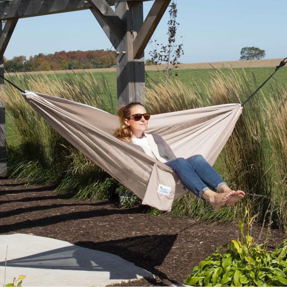 Mesh Double Hammock in Sand and Sky – MESH2-44 Lifestyle