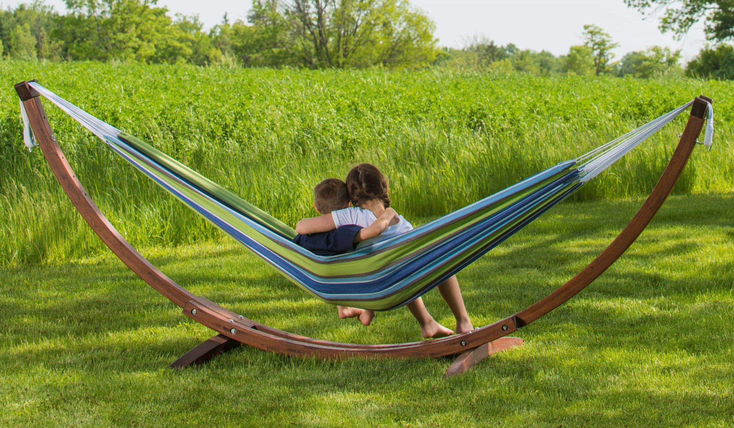 Double-Cotton-Hammock-with-Solid-Pine-Arc-Hammock-Stand-Oasis featured image for Hammock Stands page